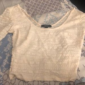 Cream/ white log sleeve lace forever 21 crop top
